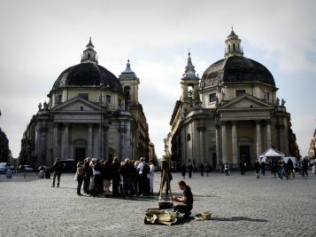 Santa Maria del Miracoli and Santa Maria di Montesanto - the tiwn churches, Rome, Italy