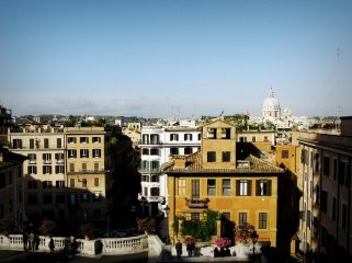 I looked down the Spanish steps and there was a great sight of the Rome old city