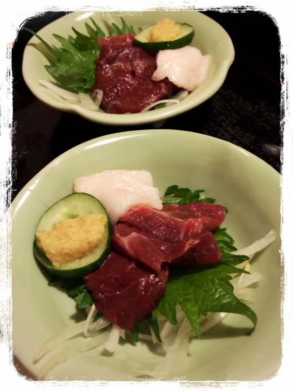Horse meat is a Kyushu speciality ~ you may find it in a set dinner menu during your stay. You could eat it raw (sashimi), or cooked.