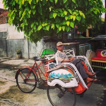 Old man and rickshaw