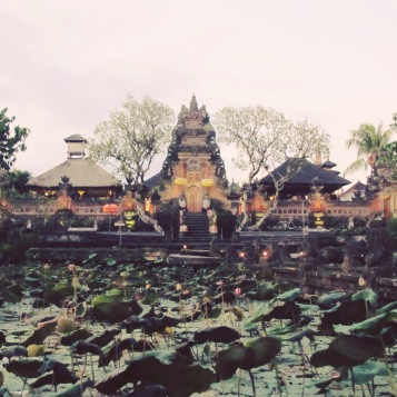 Cafe Lotus - with the dining tables overlooking the lotus pond and Ubud Palace