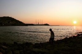 Walking down the Kudasaki water front during Sunset
